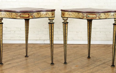 PAIR EARLY 19TH C. VENETIAN CORNER CONSOLE TABLES