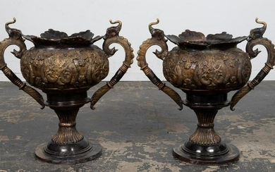PAIR, LARGE BRONZE INDO-PERSIAN STYLE GARDEN URNS