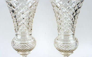 PAIR LARGE CUT CRYSTAL VASES DIAMOND PATTERN 1900