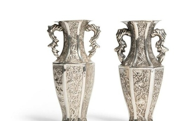 PAIR OF EXPORT SILVER BALUSTER VASES QING DYNASTY, LUEN