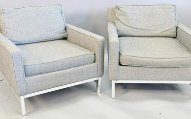 "Pair Knoll style club chairs, ht. 26 1/2""."