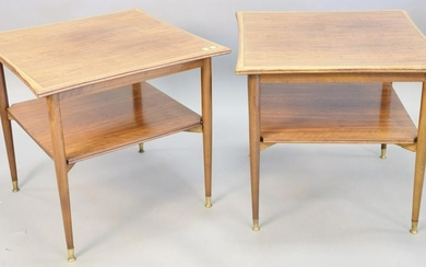 """Pair Mid-Century Rosewood end tables, 23"""" h., top 24"""" x"""