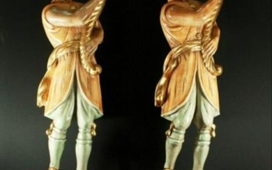 Pair Of Monumentalcarved Figure On Bases