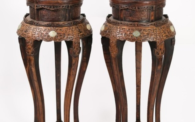 Pair of Chinese Cloisonne and Celadon Jade-Inlaid Carved Wood Stands, Modern ATR2