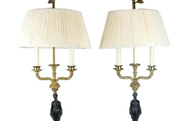 Pair of French Empire-Style Bronze Lamps