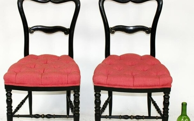 Pair of French petite side chairs