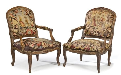 Pair of Louis XV style armchairs, in carved walnut with
