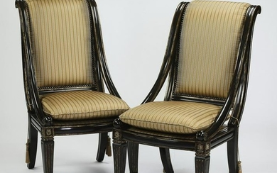 Pair of Marge Carson parcel gilt and ebonized chairs