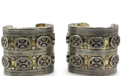 Pair of Oriental Sterling and Gold Inlay Cuff Bracelets