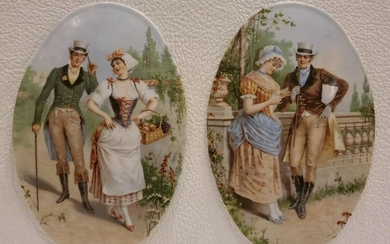 Pair of Oval Porcelain Plaques
