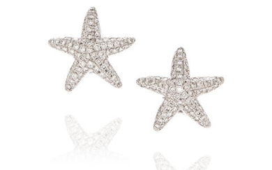 Pair of White Gold and Pavé Diamond Ear Clips