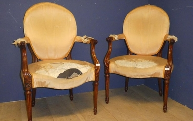 Pair of mid C18th armchairs with scrolled and carved arms an...