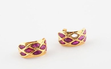 Pair of yellow gold (750) convex earrings paved with shuttle-cut...