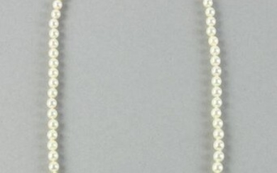 Pearl Necklace With Gold and Diamond Clasp