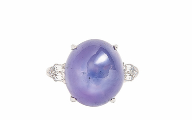 Platinum, Star Sapphire, and Diamond Ring