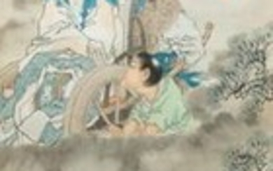 Qian Huian (1833 1911), ink and colour on paper, 19th C.: 'Fugui shoukao, after Wen Anguo'