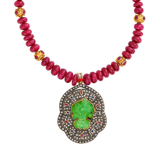 Ruby Bead, Silver, Gold, Cabochon Ruby, Gem-Set and Diamond Pendant-Necklace and Pair of Silver, Gold Freshwater Pearl and Diamond Pendant-Earrings