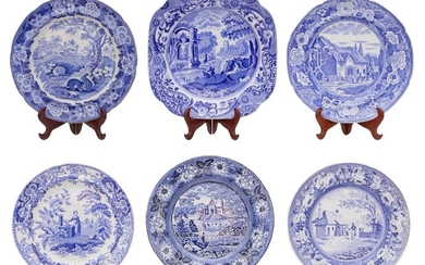 SIX ENGLISH BLUE AND WHITE TRANSFER PLATES