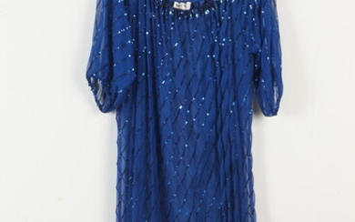SWEE LO NY SHEER BLUE SILK DRESS WITH SEQUIN DETAIL,...