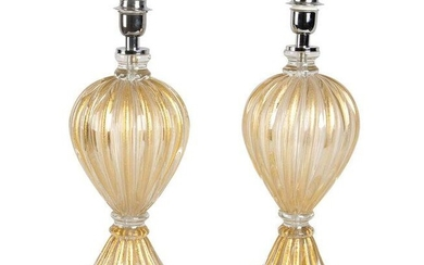 Set of 2 bases for table lamp by Barovier (attr)