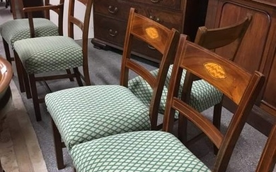 Set of 6 +2 Inlaid Vict style Dining Chairs