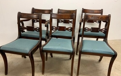 Set of six Regency style mahogany dining chairs. 2 carvers. ...