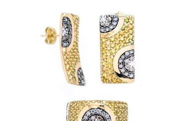 Set with pair of earrings and ring in yellow gold, diamonds, yellow diamonds and brown diamonds