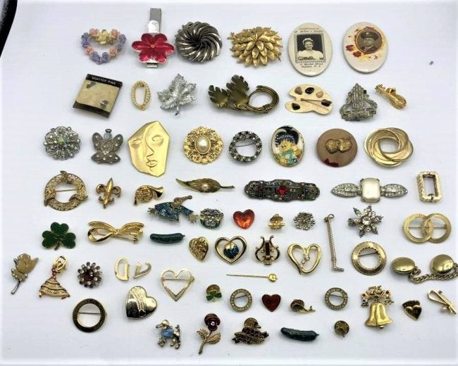 Sixty Six [66] Assorted Costume Jewelry Pins. Brooches