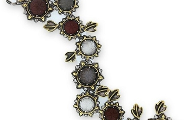 Stambolian Aged Silver & 18K Gold Floral Carved