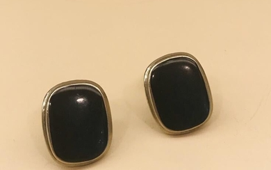 Sterling Silver And Black Onyx Clip Earrings