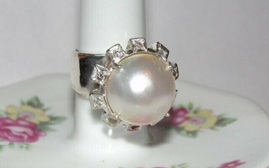 Sterling Silver Mabe Pearl and Diamond Cocktail Ring