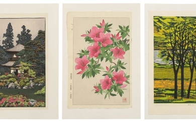 """THREE 20TH CENTURY JAPANESE WOODBLOCK PRINTS 1) """"Silver Pavilion- Kyoto"""" by Toshi Yoshida. Printed title. Signed lower right in penc..."""