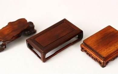 THREE GOOD 19TH CENTURY CHINESE CARVED HARDWOOD STANDS