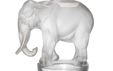 'TOBY, ELEPHANT' NO.1192, A CLEAR AND FROSTED PAPERWEIGHT, STENCIL MARK 'R' LALIQUE FRANCE