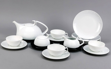 Tea set for 4 people, 19 pieces, Rosenthal, Studio-Line, made after 1969, design: The Architects Collaborative, Walter Gropius, Louis McMillen, white with 2 black undercups, teapot, h. 13 cm, 4 tea cups with saucers, H. 5.5 cm, 4 cake plates, Ø 19 cm...