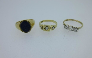 Three diamond or gemset rings testing for 18ct gold,