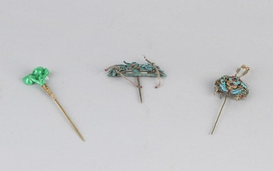 Three special Asian hair pins handmade from yellow