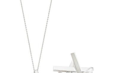 Tiffany & Co., Frank Gehry White Gold, Diamond and Rock Crystal 'Axis' Brooch and Pendant with Chain Necklace