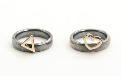 NOT SOLD. Toftegaard: Two 14k gold and partly oxidized sterling silver rings. Size 53 and...