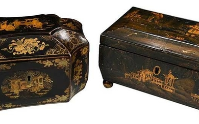Two Chinese Gilt Decorated Lacquer Boxes