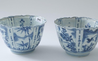 Two Chinese kraak porcelain bowls, 17th century, Ming dynasty, decorated with flowers and birds, h. 9 cm, diam. 14 cm, minimal chip inside foot rim, some fretting to the rim (2x)