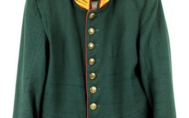 Uniform tunic for a corporal of a hunter battalion, Prussia, dark green with red collar, red epaulettes, yellow garde braid, inside light lining, good condition, 2484 - 0011