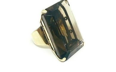 VINTAGE 18iK Yellow Gold Large Citrine Coctail Ring