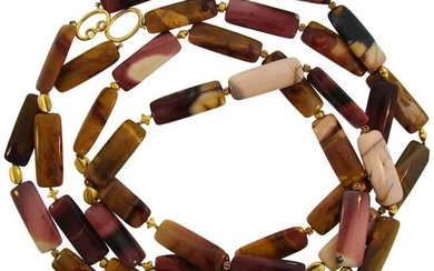 Verdura Agate Bead Strand Necklace with Yellow Gold