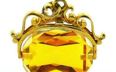Victorian 9k Yellow Gold English Citrine Fob Charm