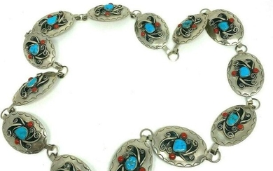 Vintage American Indian Sterling Silver Turquoise and