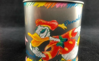 Vintage Donald Duck Nichiten Tin Square Bank Colorful