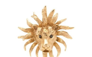 YELLOW GOLD AND GEMSTONE LION PENDANT/BROOCH