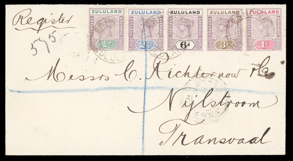 Zululand Covers and Cancellations Eshowe 1897 (Mar.) envelope registered from Eshowe to Nylestr...