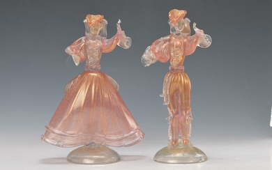 couple of Glass sculptures, Badioli Murano, 20th...